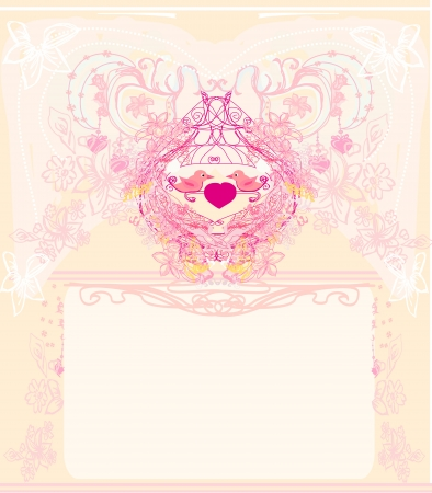 greeting card with 2 sweet love birds - wedding invitation Illustration