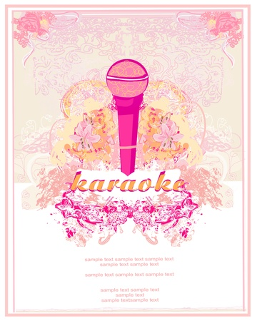 banner with microphone - karaoke party design Vector