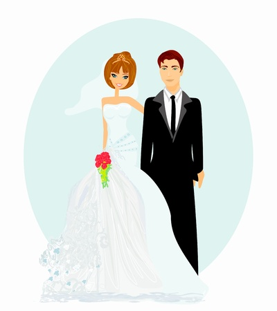 wedding gown: wedding couple vector  Illustration