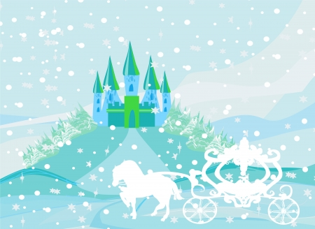 Winter landscape with castle and beautiful carriage Vector