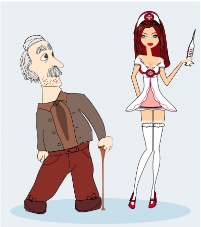inject: illustration of a sexy nurse and senior man