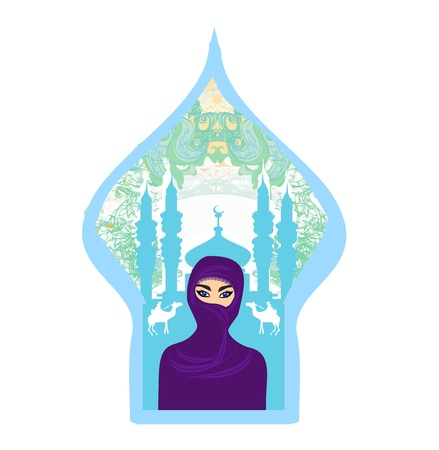 purdah: Portrait of a Arabian woman in hijab with desert silhouette. Illustration