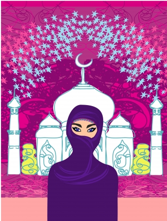 Vector illustration of a young beautiful muslim women on seamless mosque background Vector