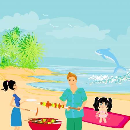 Happy family with barbecue outdoors Stock Vector - 18452808