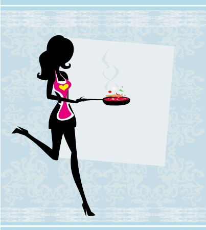 skillet: Silhouette of a Woman Wearing an Apron and Holding a Skillet - vector card