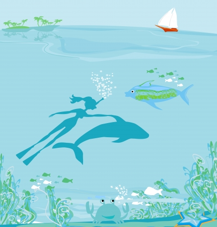 The girl-diver floats together with a dolphin Stock Vector - 18496076