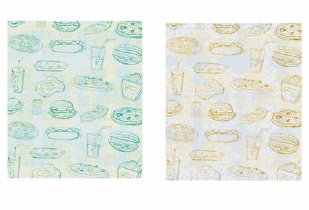doodle fast food seamless background  Vector