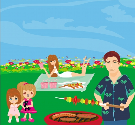 A illustration of a family having a picnic in a park  Vector