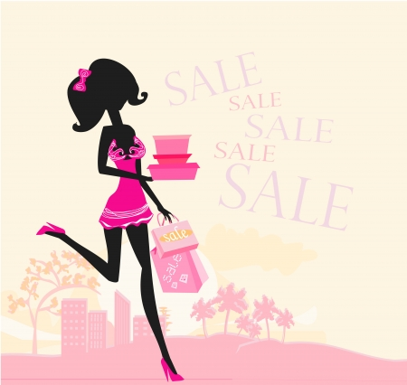 abstract fashion girl Shopping - illustration  Vector