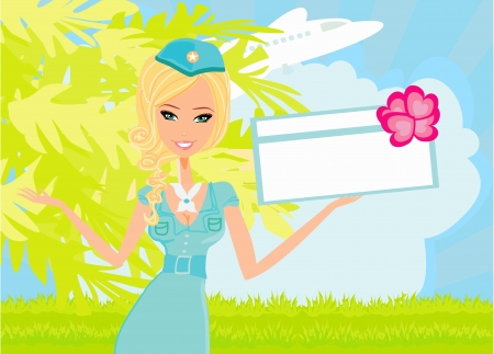 Beautiful stewardess with ticket Stock Vector - 18496101