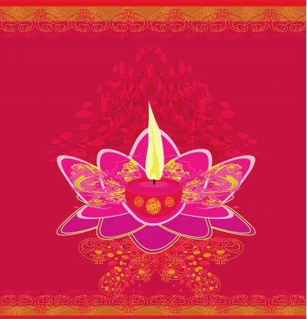 Lotus Oil Lamp - vector illustration