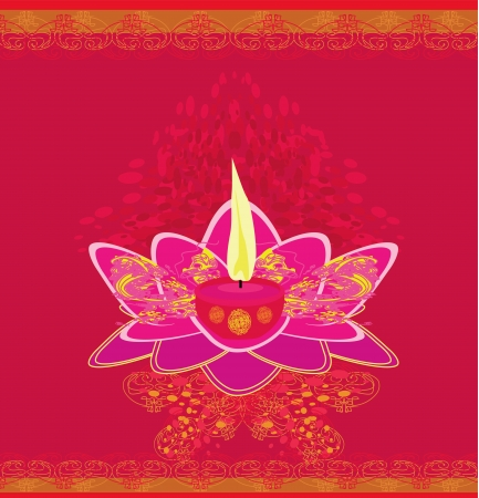 Lotus Oil Lamp - vector illustration