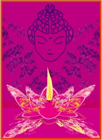 gautama buddha: Lotus Oil Lamp with Buddha
