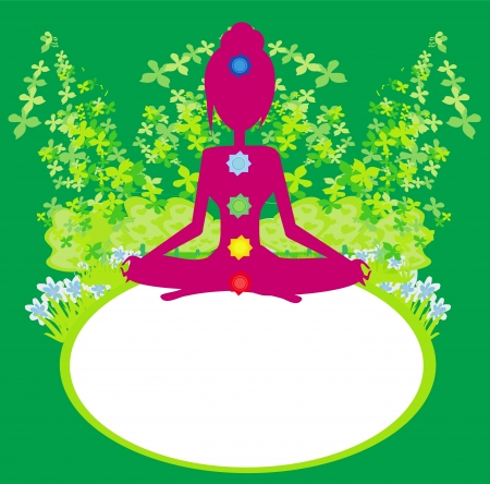 Yoga lotus pose. Padmasana with colored chakra points.  Vector