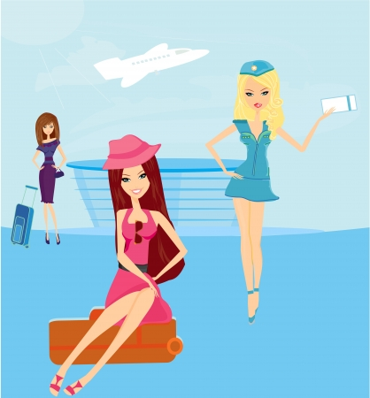 beauty travel girls in the airport Vector