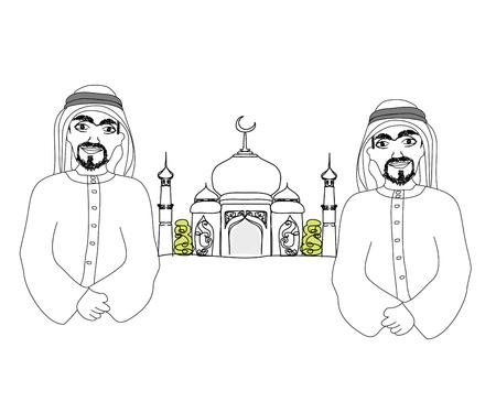 巡礼: メディナのイスラム聖地で祈るイスラム教徒