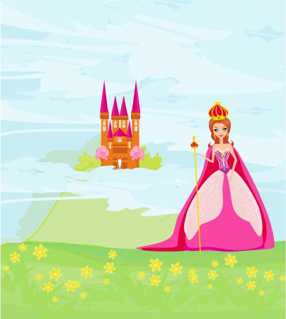 Beautiful queen in front of her castle  Stock Vector - 18560940