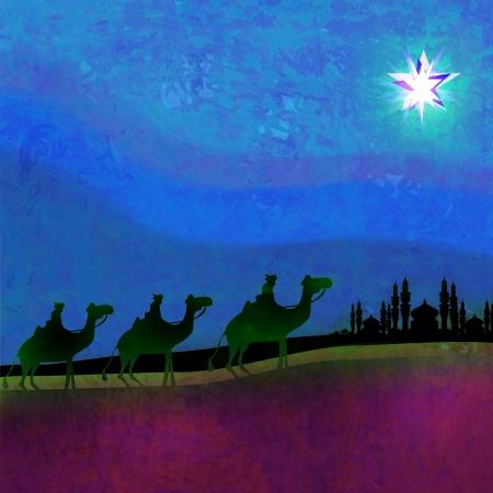 Classic three magic scene and shining star of Bethlehem  Imagens