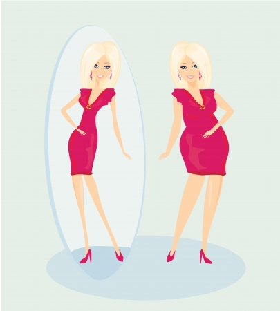looking in mirror: Full lady enjoys her slim reflection