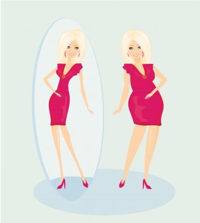 frau ganzk�rper: Vollst�ndige Dame genie�t ihre schlanke Reflexion