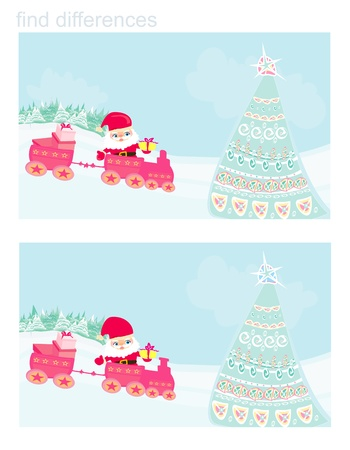 Santa Christmas Train - find differences Vector