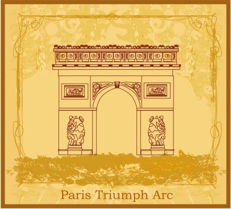 Hand drawn illustration of Paris Triumph Arc - Grunge Background  Vector