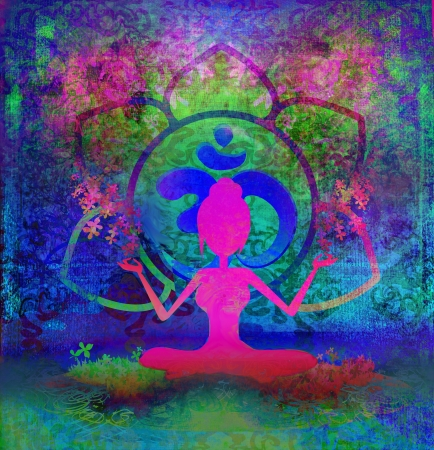yogi aura: Yoga lotus pose - abstract background
