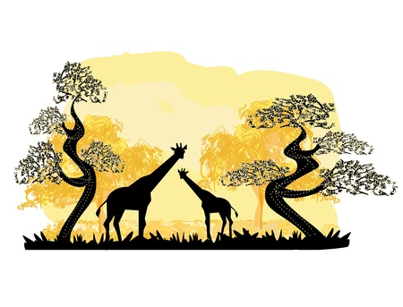 Two giraffes silhouette, with jungle landscape Stock Vector - 18761485