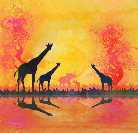 African savannah with reflection  photo
