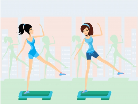 step fitness: women doing exercise on aerobic step