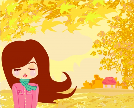 beautiful girl in autumn  Stock Vector - 18847350