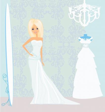 bridesmaids: bride at the salon in wedding dress