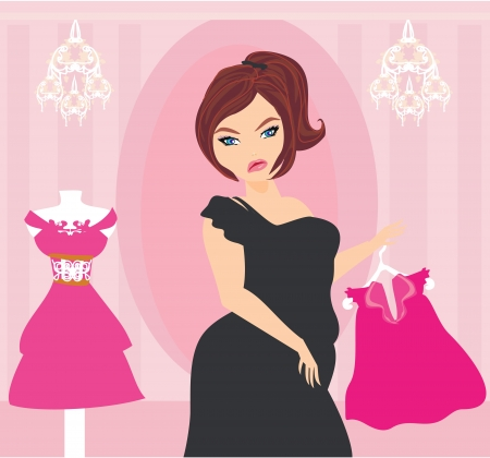 fat to thin: Full lady chooses dresses  Illustration