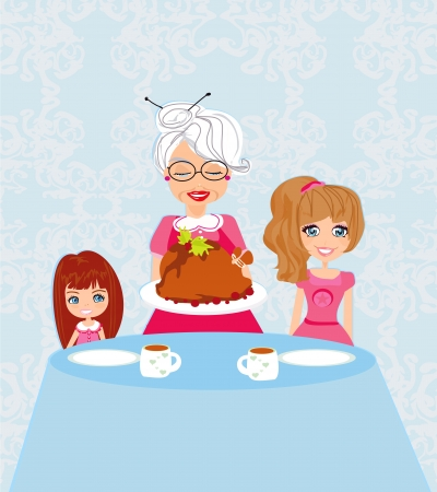 grandma bringing thanksgiving turkey to the dinner table Vector