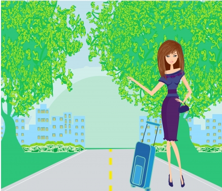 Pretty young woman hitchhiking along a road.  Vector