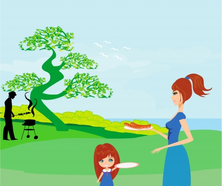A vector illustration of a family having a picnic in a park  Illustration