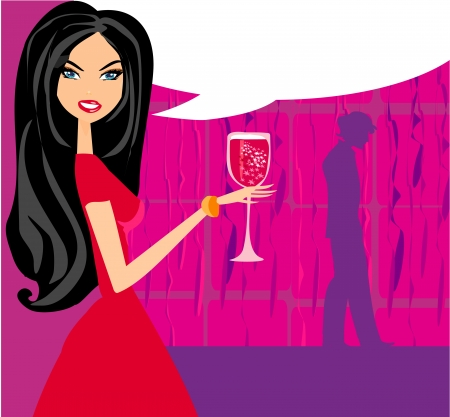 Angry Woman  in bar with man silhouette drinking cocktail