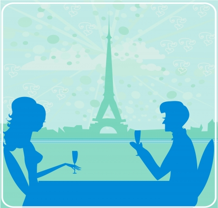 Young couple flirt and drink champagne in Paris Stock Vector - 18902760