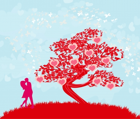 greeting card with silhouette of romantic couple Stock Vector - 18982246