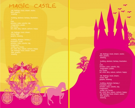 fairy tale book - Silhouette of a horse carriage and a medieval castle  Vector