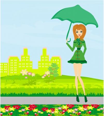beautiful woman with umbrella  Vector
