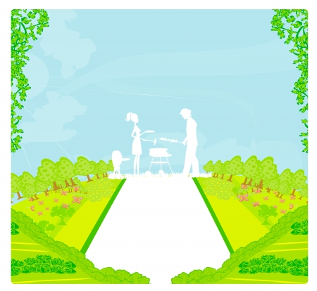 An illustration of a family having a picnic in a park  Vector