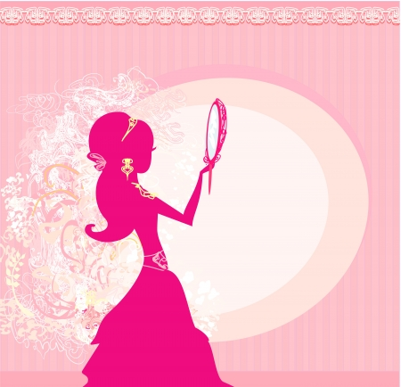 Girl and jewellerys - abstract background