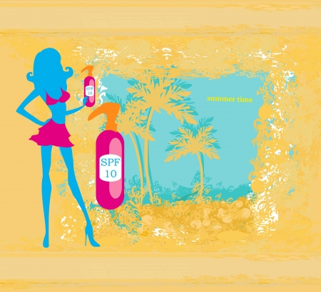 suntan: woman applying suntan lotion  - card Illustration