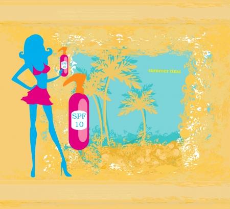 suntan lotion: woman applying suntan lotion  - card Illustration
