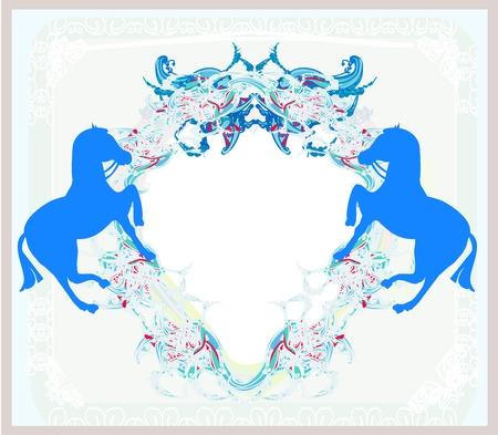 abstract vintage horses logo Stock Vector - 19050652