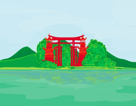 Traditional abstract chines landscape Vector