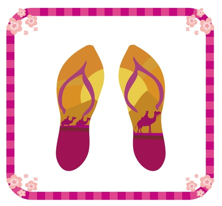 vector pair of flip flops  Stock Vector - 19050645