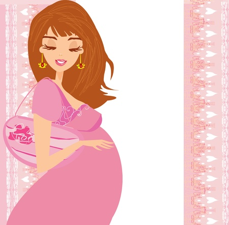 happy pregnant woman, baby shower card Stock Vector - 19050644