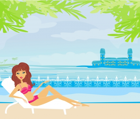 vector image of girl and tropical pool  Vector